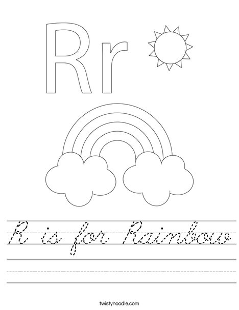 R Is For Rainbow Worksheet Cursive Twisty Noodle