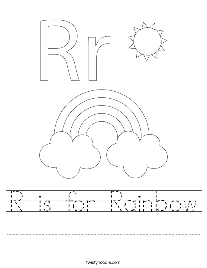 Printables Letter R Worksheets letter r worksheets twisty noodle is for rainbow handwriting sheet
