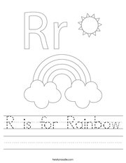 R is for Rainbow Handwriting Sheet
