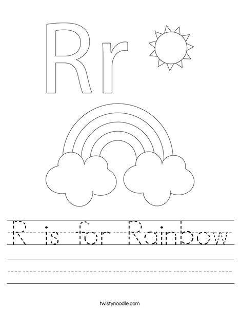 r is for rainbow worksheet twisty noodle. Black Bedroom Furniture Sets. Home Design Ideas