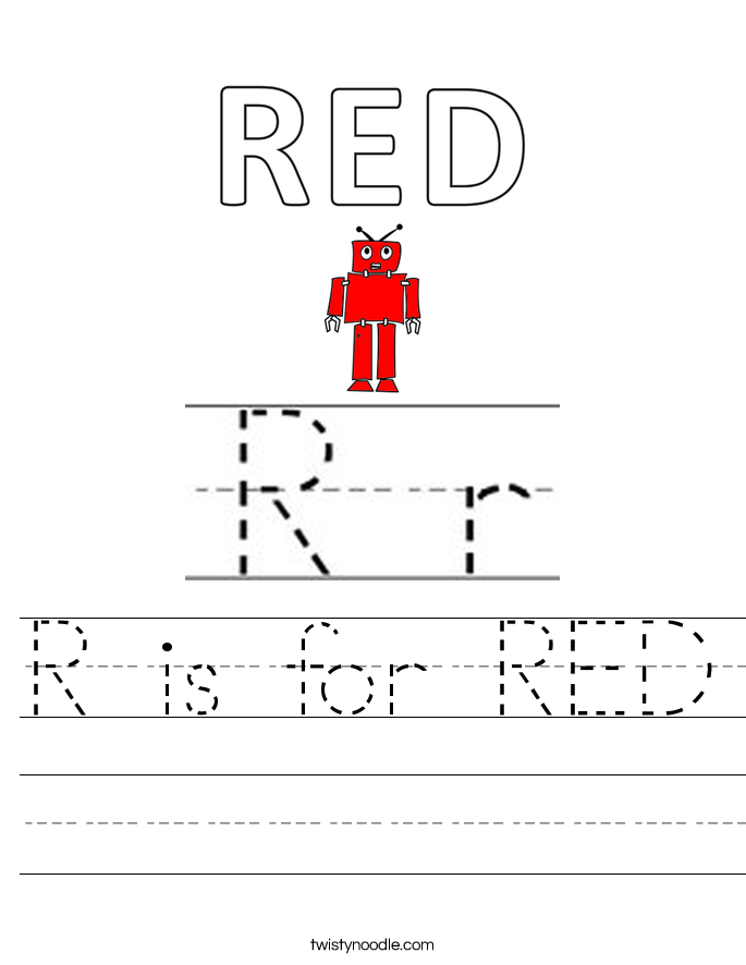 R is for RED Worksheet
