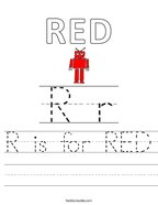 R is for RED Handwriting Sheet