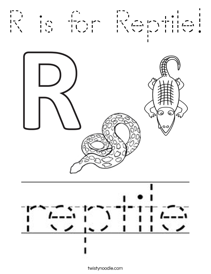 R is for Reptile! Coloring Page