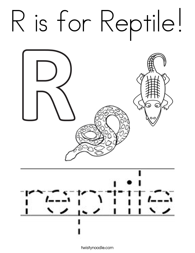 R is for Reptile Coloring Page Twisty Noodle
