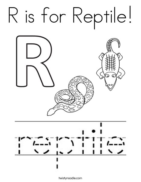 R is for Reptile Coloring Page - Twisty Noodle