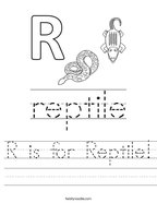 R is for Reptile Handwriting Sheet