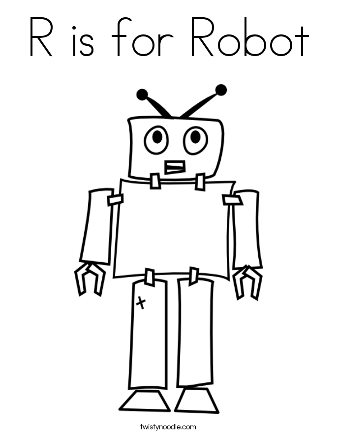 R is for Robot Coloring Page - Twisty Noodle