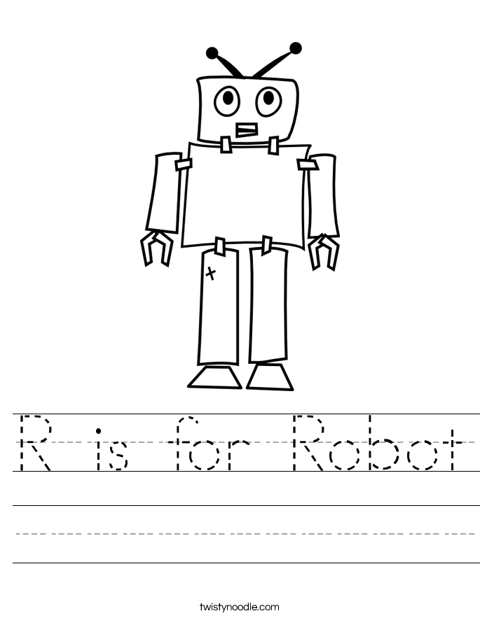 R is for Robot Worksheet - Twisty Noodle