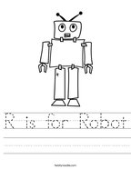 R is for Robot Handwriting Sheet