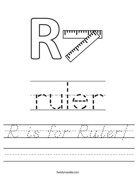 R is for Ruler Worksheet