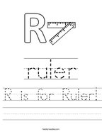 R is for Ruler Handwriting Sheet