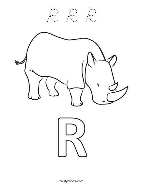 R Rhinoceros Coloring Page