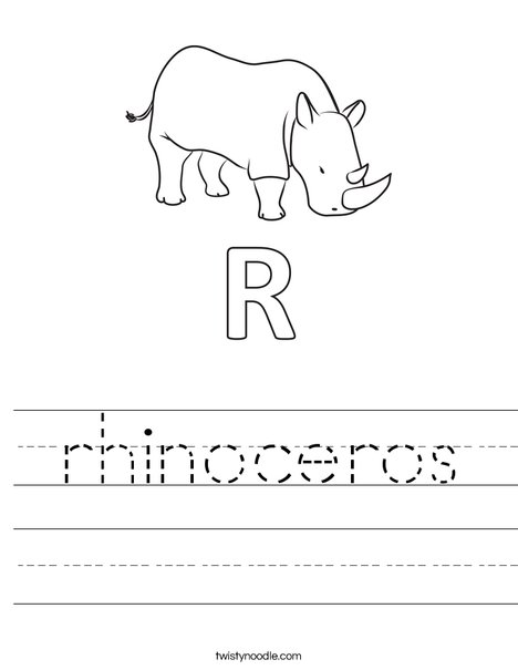 R Rhinoceros Worksheet