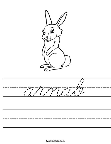 Cute Rabbit Worksheet