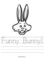Funny Bunny Handwriting Sheet