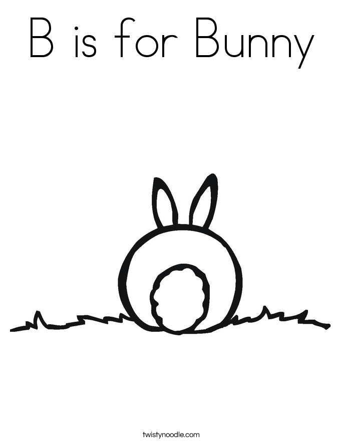 b is for bunny coloring page - Bunny Coloring Sheet
