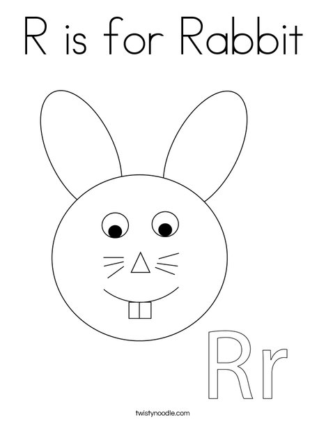 R is for Rabbit Coloring Page - Twisty Noodle