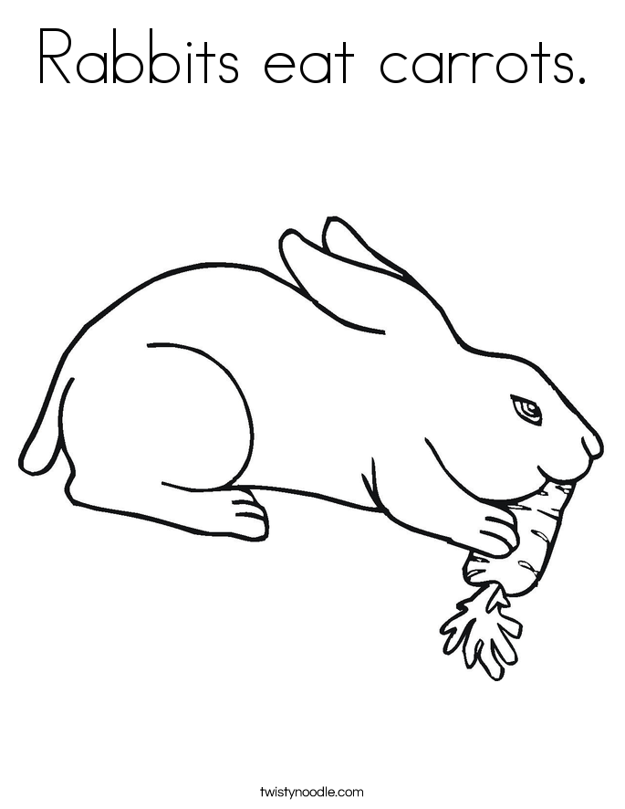 Rabbits eat carrots Coloring Page - Twisty Noodle