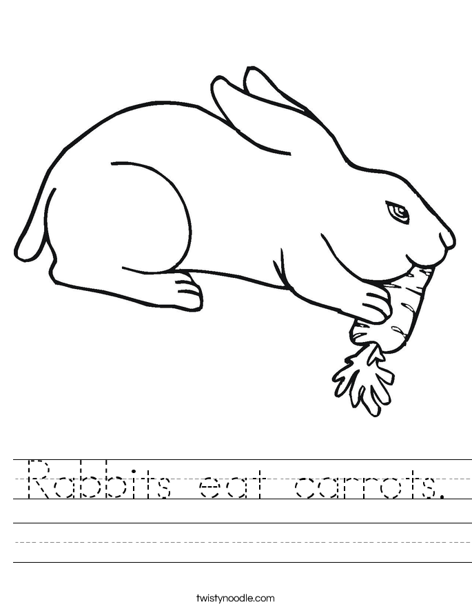 Rabbits eat carrots. Worksheet