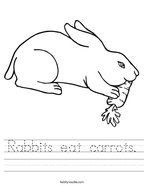 Rabbits eat carrots Handwriting Sheet