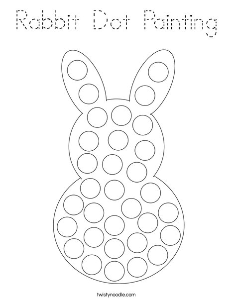 Rabbit Dot Painting Coloring Page