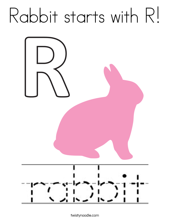 Rabbit starts with R! Coloring Page