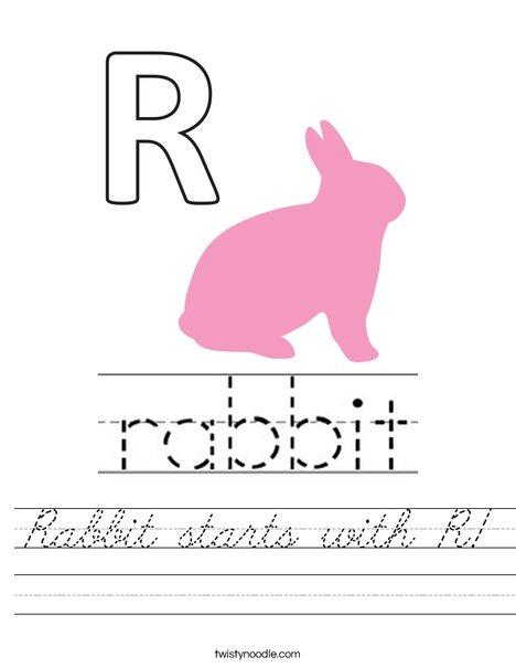 Rabbit starts with R. Worksheet