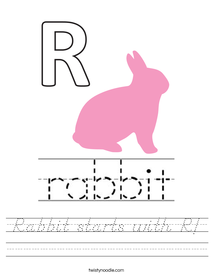 Rabbit starts with R! Worksheet