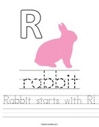 Rabbit starts with R Handwriting Sheet