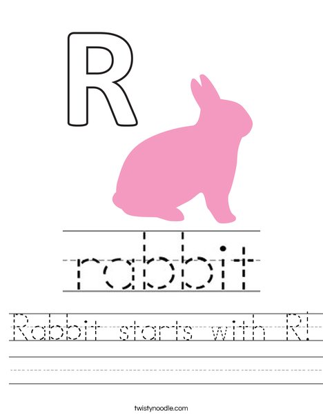 Rabbit starts with R. Worksheet