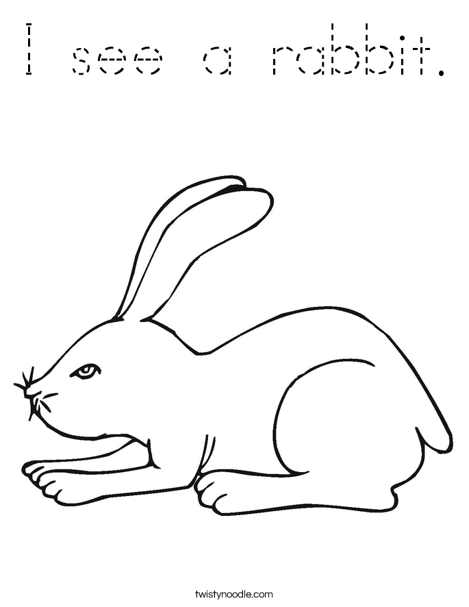 I see a rabbit. Coloring Page