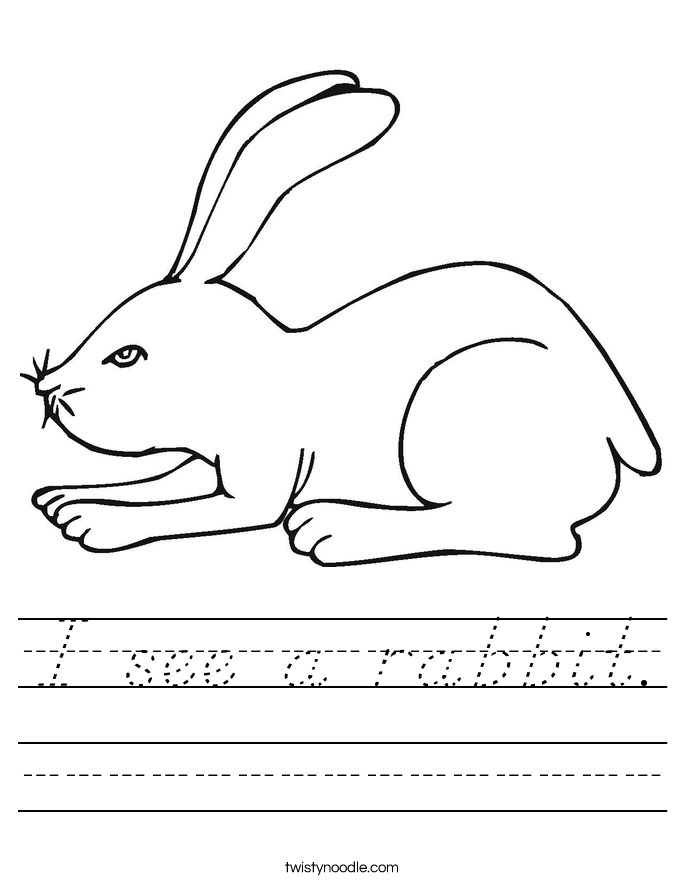 I see a rabbit. Worksheet