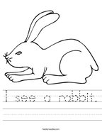 I see a rabbit Handwriting Sheet