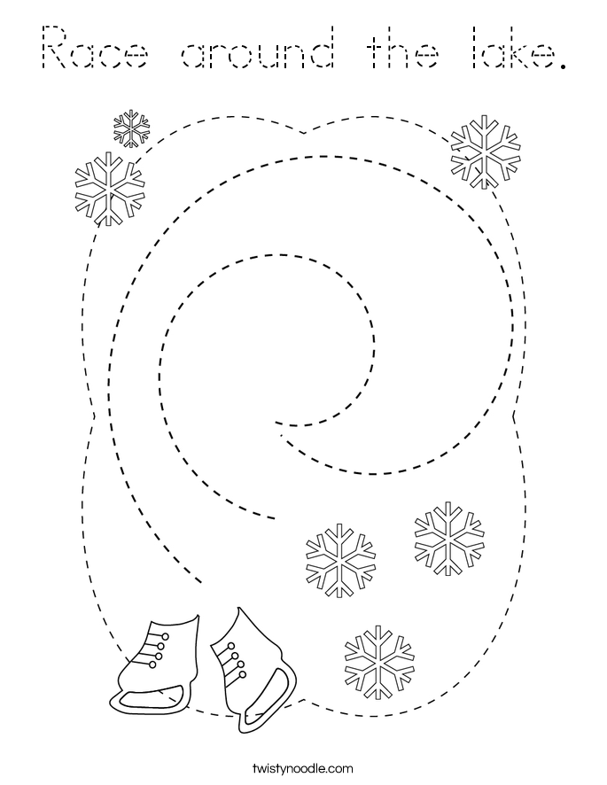 Race around the lake. Coloring Page