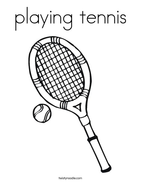 playing tennis Coloring Page - Twisty Noodle