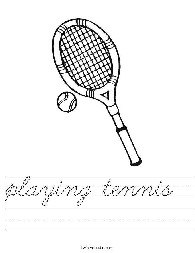playing tennis Worksheet