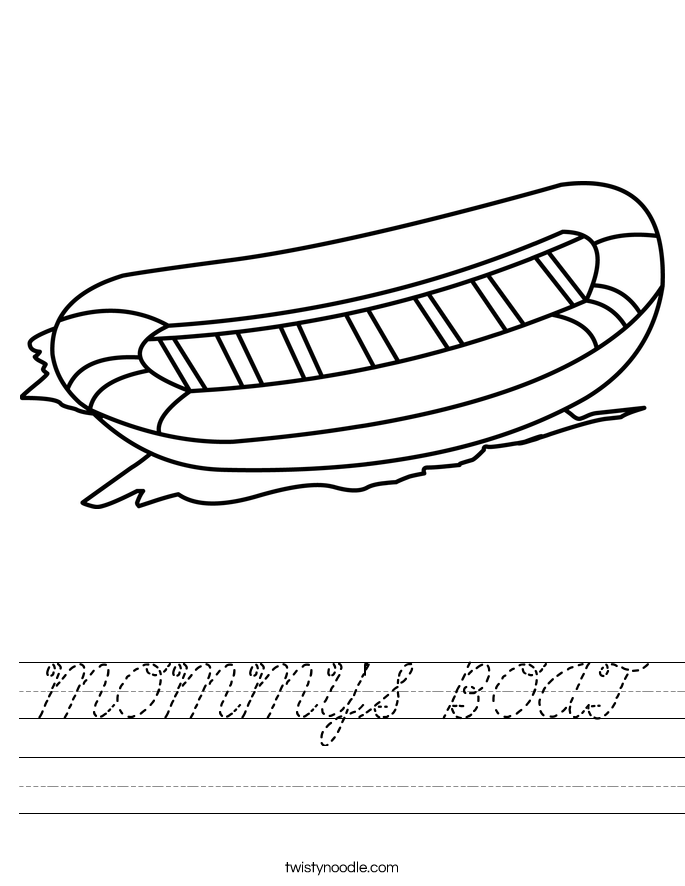 MOMMY'S BOAT Worksheet - Cursive - Twisty Noodle
