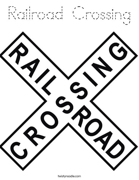 Railroad Crossing Sign Coloring Page
