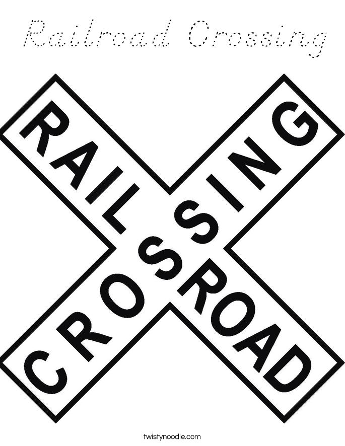 Railroad Crossing Coloring Page - D'Nealian - Twisty Noodle