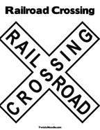 Railroad Crossing Coloring Page