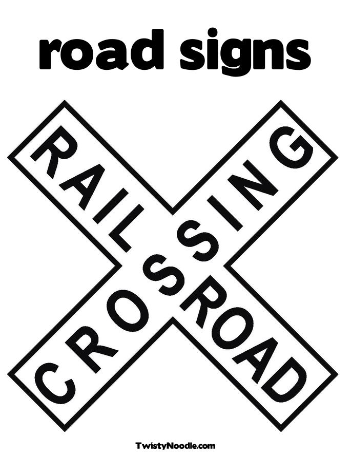 School Crossing Sign Coloring Page Crossing Road Coloring Pages