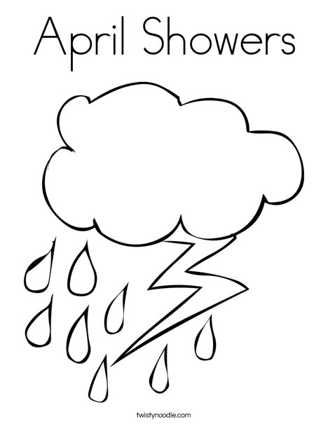 Rain and Lightning Coloring Page