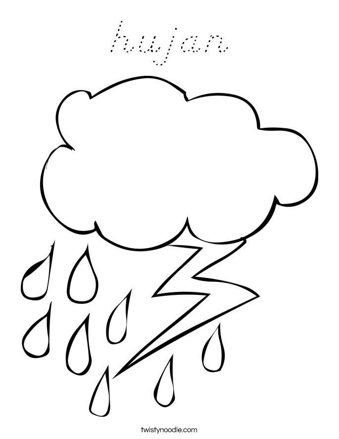 hujan Coloring Page