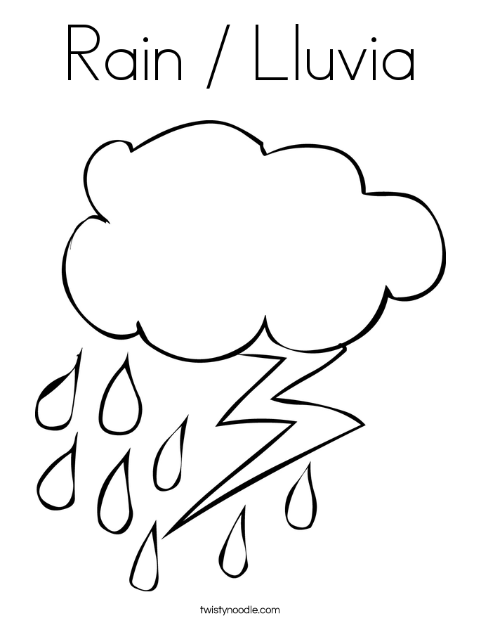 Rain / Lluvia Coloring Page - Twisty Noodle
