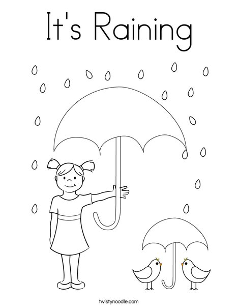 Its Raining Coloring Page Twisty Noodle