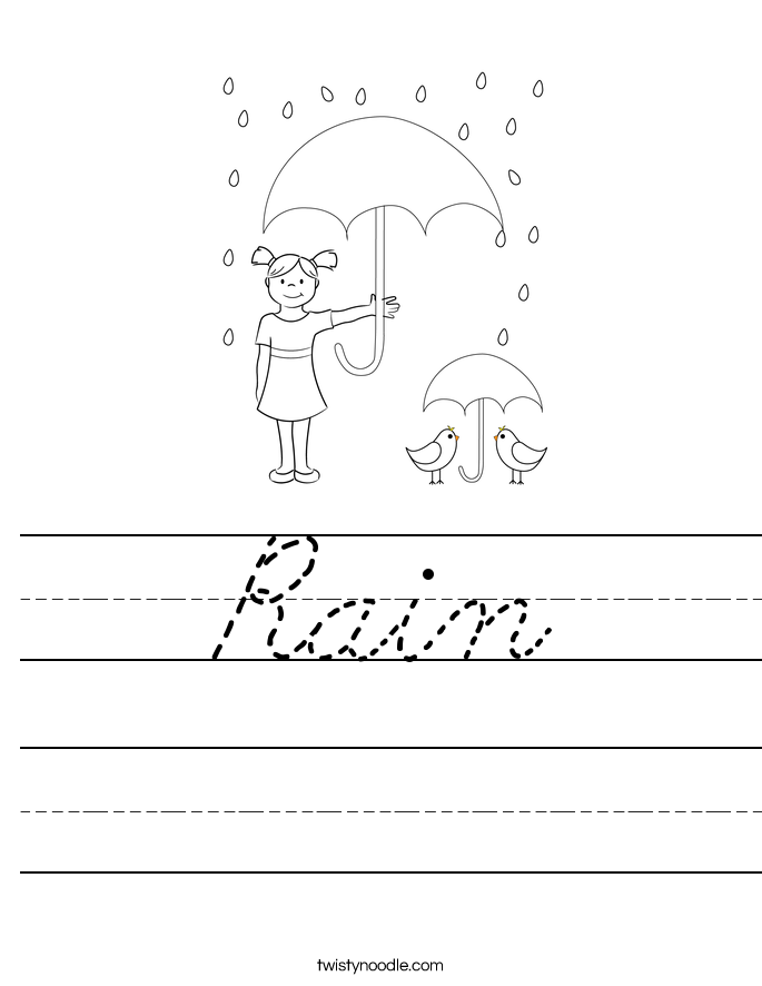 Rain Worksheet Cursive Twisty Noodle