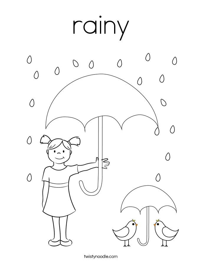 rainy Coloring Page