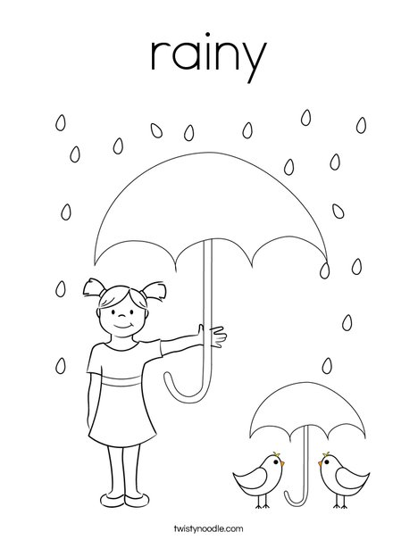 Peacock in the Rain Coloring Page