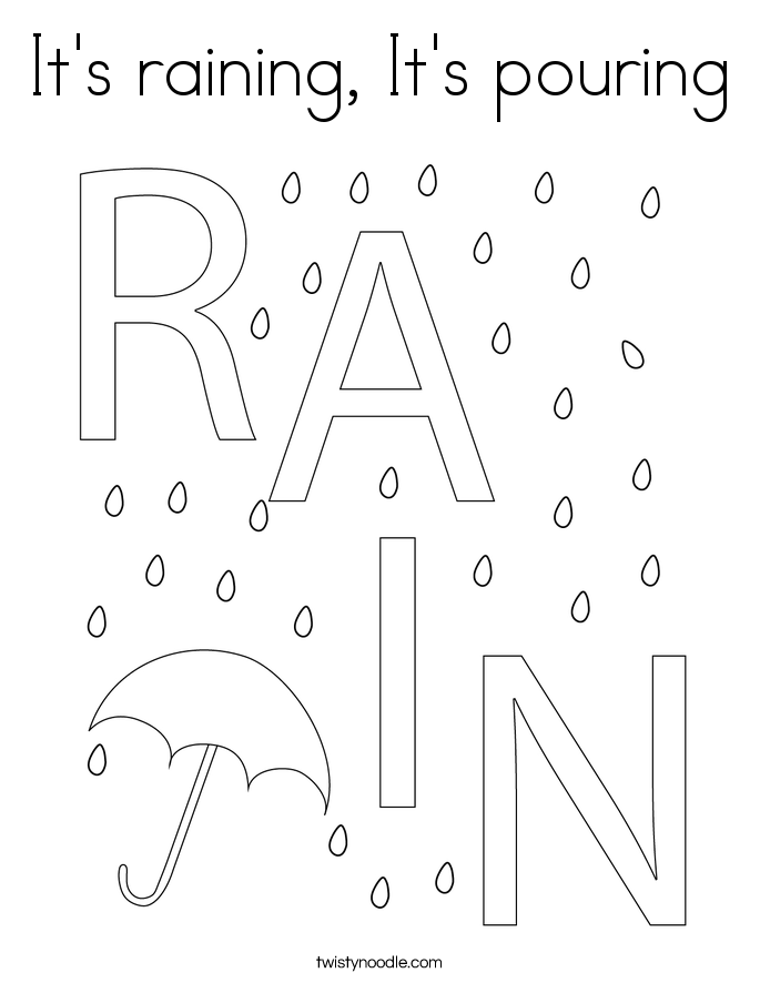 It's raining, It's pouring Coloring Page