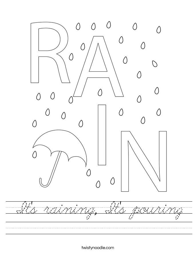 It's raining, It's pouring Worksheet
